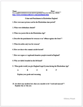 Tudors: Crime and Punishment in Elizabethan England Primary Source Worksheet