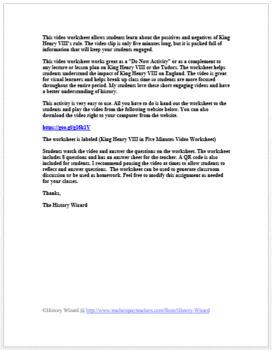 Tudors: King Henry VIII in Five Minutes Video Worksheet