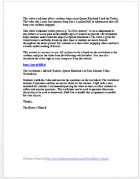 Tudors: Queen Elizabeth I in Four Minutes Video Worksheet