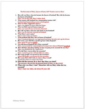 Tudors: The Execution of Mary, Queen of Scots Primary Source Worksheet