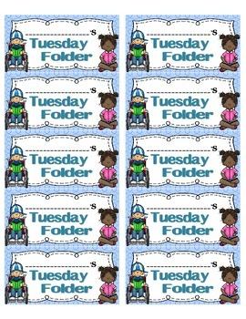 Tuesday Folder Labels