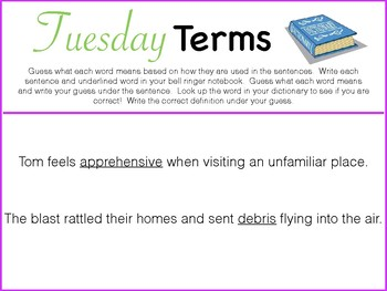 Tuesday Terms Morning/Bell Work PDF - FULL YEAR!