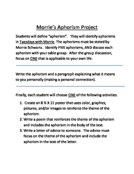 Tuesday With Morrie's Enrichment Activity