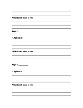 """Tuesdays with Morrie"" Aphorisms Worksheet"