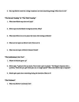 Tuesdays with Morrie Mid Book Study Guide & Answers