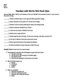 Tuesdays with Morrie Mid Book Test & Answer Key