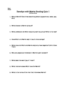 Tuesdays with Morrie Reading Quiz 1 (early in the book!)