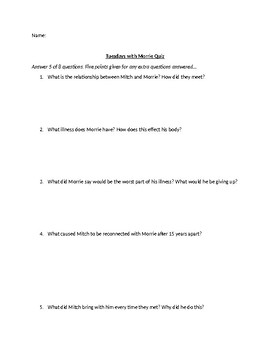 Tuesdays with Morrie Short Answer Quiz