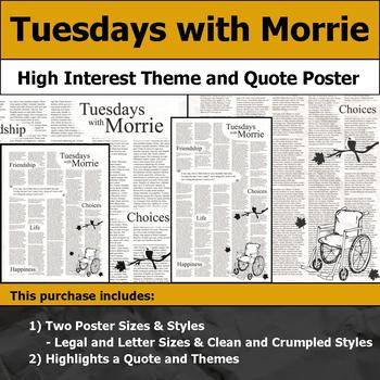 Tuesdays with Morrie - Visual Theme and Quote Poster for Bulletin Boards
