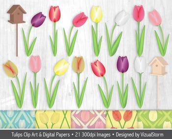 Tulip Clip Art and Digital Paper Bundle, Spring Flower Illustrations & Patterns