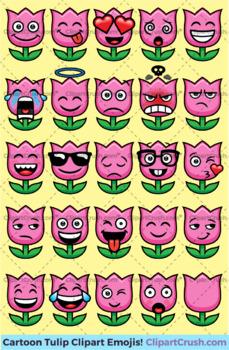 Tulip Emoji Clipart Faces / Cute Spring Tulip Flower Emojis Emotions Expressions