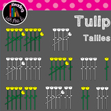 Tulip Flower Tallies Clip Art (b&w included)
