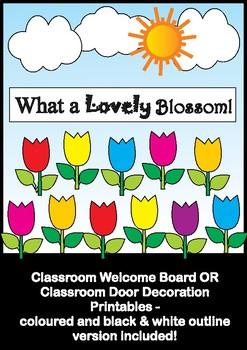 Tulip Flowers - Bulletin Board Set / Classroom Door Decoration - Printables