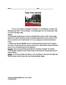 Tulip Time Festival - Informational Text - summary - review questions vocabulary