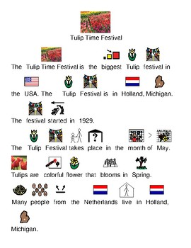 Tulip Time Festival - picture supported text lesson Holland Michigan