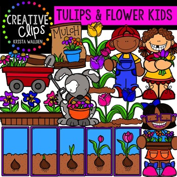 Tulip and Flower Kids {Creative Clips Digital Clipart}