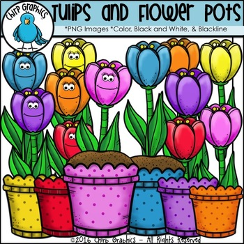 Tulips and Flower Pots Clip Art Set - Chirp Graphics