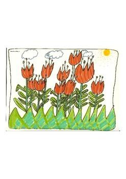 Elementary Visual Art Project - Tulip Garden
