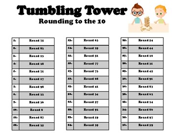 Tumbling Tower- rounding to the 10