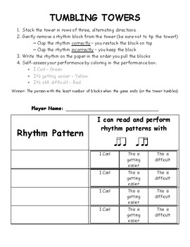 Tumbling Towers Game - Sixteenth Note combos