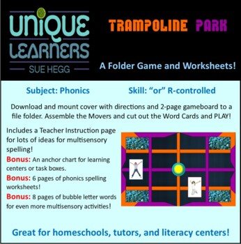 Tumbling Trampolines Folder Game Phonics R-controlled