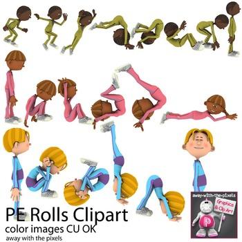 Tumbling and Rolls PE Fitness Clip Art