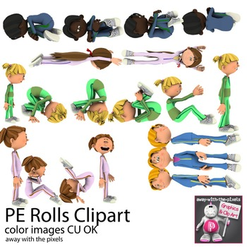 Tumbling and Rolls PE Fitness Clip Art