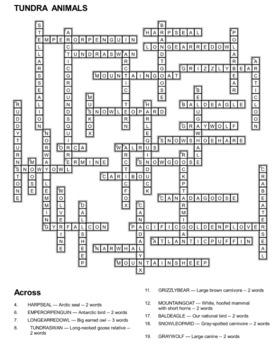 Tundra Animals Crossword Puzzles