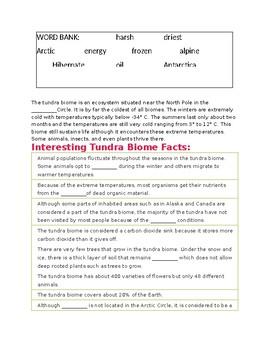 Tundra Biome --  CLOZE Reading