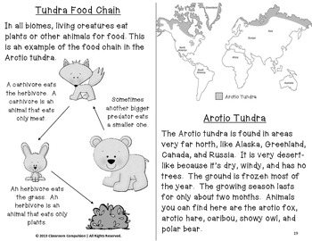 tundra biome habitat science pack worksheets vocabulary chart foldables. Black Bedroom Furniture Sets. Home Design Ideas