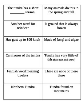 Tundra Habitat Vocabulary Matching cards