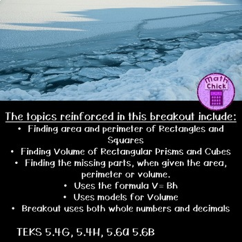 Tundra Trouble Digital Escape Breakout Area, Perimeter and Volume