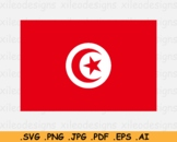 Tunisia National Flag, Tunisian Country Banner Cricut, SVG EPS AI PNG JPG PDF