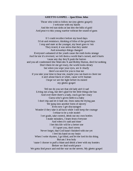 Tupac's Ghetto Gospel - Poetry Assessment