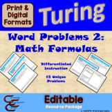Turing 8C Math Word Problems ⇨EDITABLE⇦ Resource Package