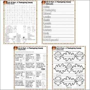 Turk & Runt a Thanksgiving Comedy : Comprehension Book Study 20 page Packet