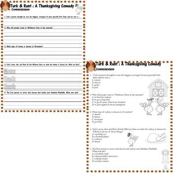 Turk & Runt a Thanksgiving Comedy : Comprehension Multiple Choice Questions