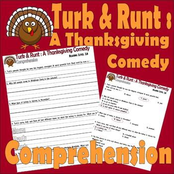 Turk & Runt a Thanksgiving Comedy : Comprehension Questions : LINED PAPER