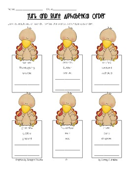 Turk and Runt- a Thanksgiving Literacy Pack