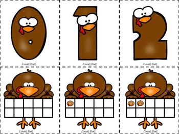 Turkey 10 Frame Matching {Thanksgiving}