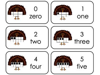 Turkey 10 Frame Printable Flashcards. Preschool- Kindergarten Math.