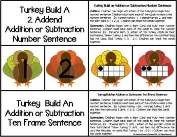 Turkey 2 Addend Addition & Subtraction With Ten Frames