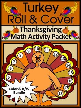 Thanksgiving Turkey Activities: Turkey Roll & Cover Math Activity Bundle