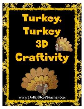 Turkey 3D Craftivity for Thanksgiving  Blackline & Color V