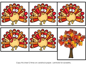 Turkey 5 & 10 Frame Pocket Chart FREEBIE