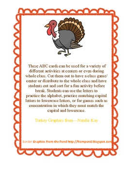 Thanksgiving Turkey ABC Match Cards (Capital & Lowercase) or ABC Practice