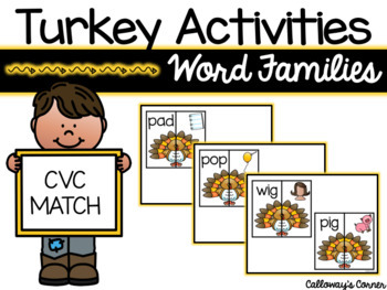 Turkey Activities-CVC Words (Word Families)