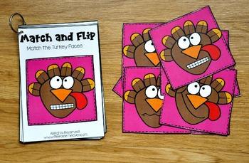 Turkey Activities:  Turkey Match and Flip Books