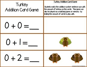 Turkey Add & Subtract 0-10 Number Sentence Match