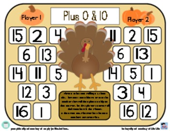 Turkey Adding 0 & Adding 10 - Thanksgiving Addition Strategy Game - 3 Versions